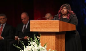 Bridget McCain speaks during a memorial service for John McCain on 30 August 2018 in Phoenix, Arizona.