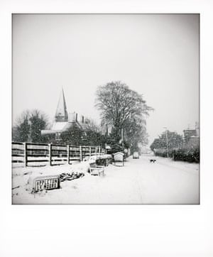The entrance to the village Appleton le Moors, covered in snow