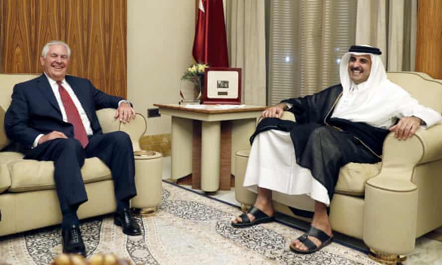 Qatar's emir, Tamim bin Hamad al-Thani, meeting the US secretary of state, Rex Tillerson