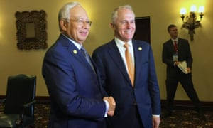 Malcolm Turnbull with the Malaysian prime ministerm Najib Razak, on the sidelines of the Apec leaders' summit in Lima, Peru