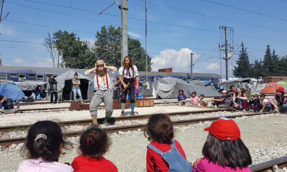 The Flying Seagulls performing at a refugee camp in northern Greece
