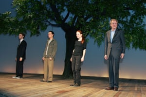 Dan Bittner, Andrew Scott, Julianne Moore and Bill Nighy appear onstage during the curtain call at the opening night of The Vertical Hour , 2006 in New York