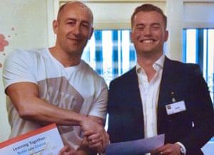 Steve Gallant (left) with Jack Merritt, who died in the London Bridge attack, in April 2018 at the end of a Learning Together training course.