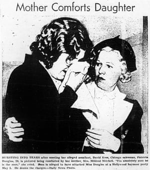 Patricia Douglas pictured in a newspaper report with her mother after she accused a sales executive of raping her at a Hollywood party.