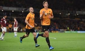 Leander Dendoncker celebrates scoring the second for Wolves.