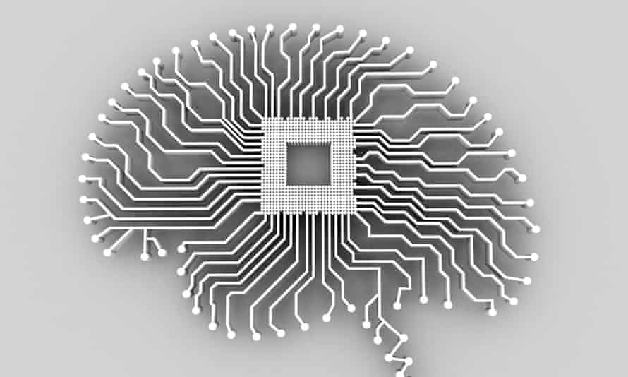 Illustration of a brain-shaped printed circuit board.