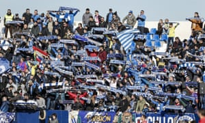 Leganés fans take their party to Butarque as they celebrate their cup victory over Real Madrid during the league match against Espanyol.
