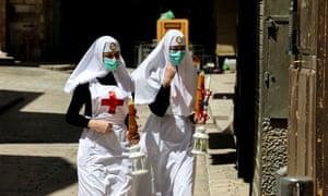 Holy Saturday celebrations in Jerusalem on April 18, 2020.