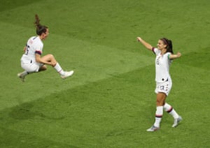 Alex Morgan and Kelley O'Hara of the USA celebrate their victory in the Women's World Cup quarter-final against France at the Parc des Princes