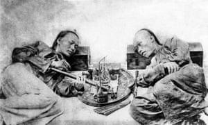 Opium smokers in China, circa 19th Century.
