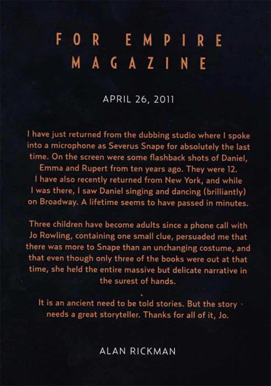 Alan Rickman's goodbye letter to Harry Potter