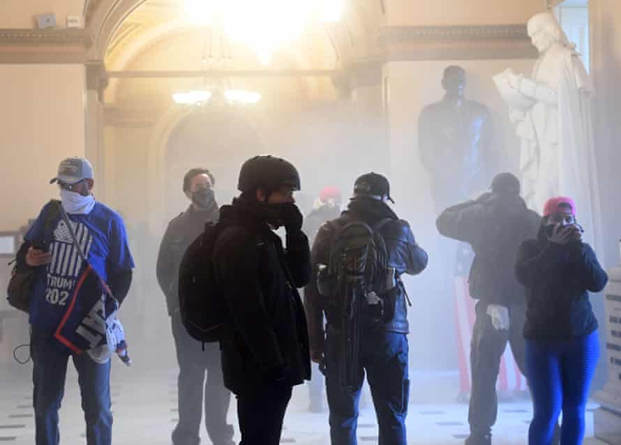 Teargas fills a corridor in the Capitol.