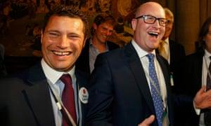 Ukip's Steven Woolfe (left) and Paul Nuttall celebrating the EU referendum result