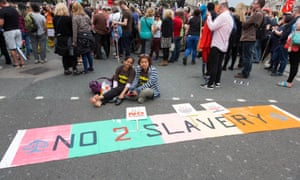 Domestic workers protest against slavery in the UK in London in 2015