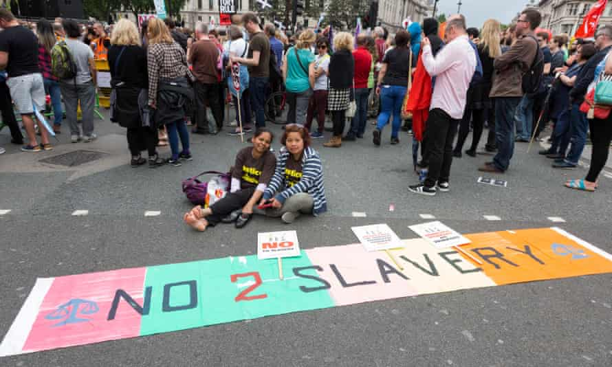 Protesters demonstrate against slavery