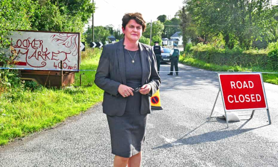 DUP leader Arlene Foster at the site of the explosion on Monday.