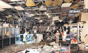 Damage seen inside the departure terminal after the bombing at Zaventem airport