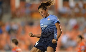 Sky Blue FC forward Nadia Nadim (9) celebrates her goal against the Houston Dash.