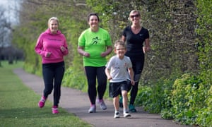 Zoey White (right) and son Rufus, with Jo Russell (left) and Jo Gregory, Little Stoke parkrun participants.