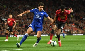 Marcus Rashford battles for possession with Harry Maguire.