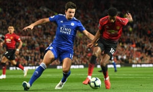 Harry Maguire, in action for Leicester against Manchester United last season, is thought to prefer a move to Manchester City.