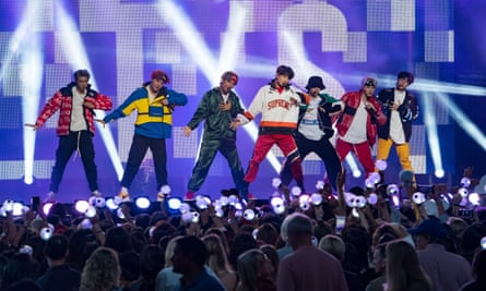 BTS on the Jimmy Kimmel Show ... (from left) RM, J-hope, V, Jungkook, Jimin, Suga, Jin.