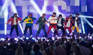 Korean K-pop band BTS on stage in 2017
