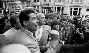 Derek Hatton outside the 1985 Labour party conference in Blackpool, where the group was denounced by Neil Kinnock.