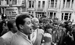 Derek Hatton outside the Labour Party Conference Blackpool, in 1985.