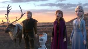 Iced fun … Sven, Kristoff, Olaf, Anna and Elsa in Frozen II.