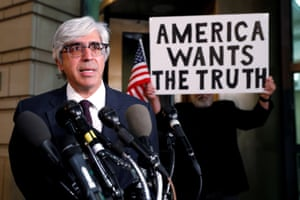 CNN's attorney Ted Boutrous speaks to reporters. The media has broadly united behind the news network.