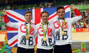Philip Hindes, Jason Kenny and Callum Skinner with their gold medals following the Rio 2016 men's team sprint final.