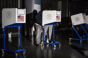 A couple place their vote at Barclays Center in Brooklyn.