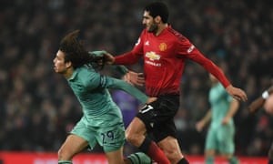 Marouane Fellaini pulls the hair of Arsenal's Mattéo Guendouzi at Old Trafford in another of his late cameo substitute appearances.