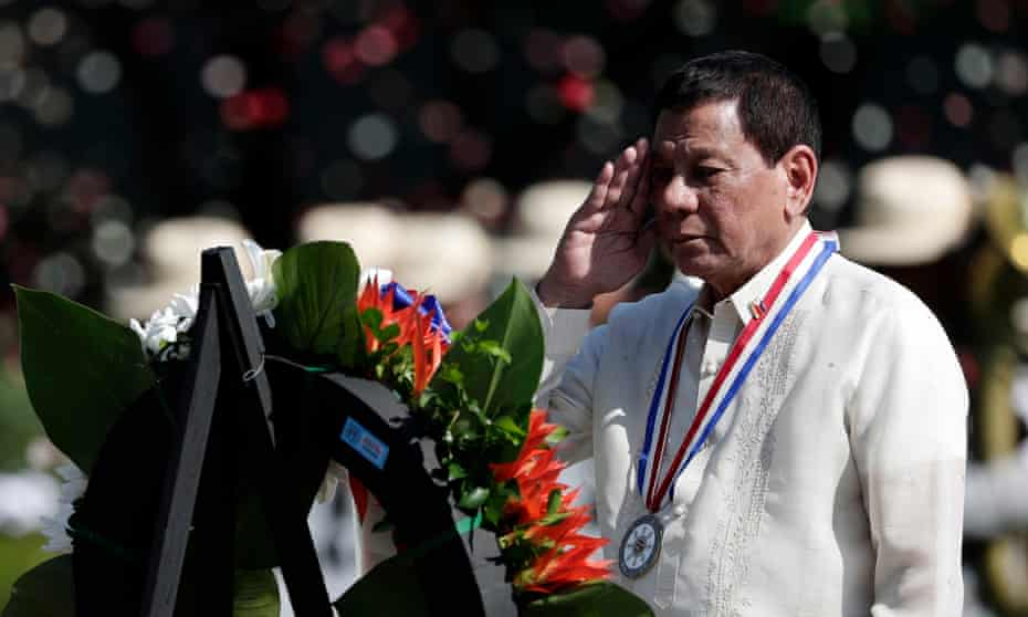 President Rodrigo Duterte salutes the tomb of an unknown soldier during a wreath-laying ceremony to mark National Heroes Day in Taguig City, south of Manila.