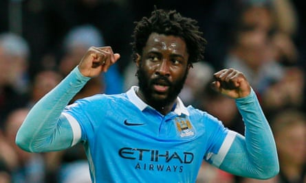 Wilfried Bony celebrates scoring a goal...or is it his impending transfer to either Everton or Arsenal?