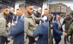 Danyaal Mahmud throws a milkshake over Tommy Robinson in Warrington