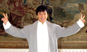 Jackie Chan promoting a film in 2001