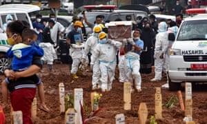 Funeral workers prepare to bury Covid victims at the Pedurenan public cemetery in Bekasi, West Java.
