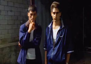 Brendan Filone, played by Anthony DeSando and Christopher Moltisanti, played by Michael Imperioli wearing shellsuits in the Sopranos.