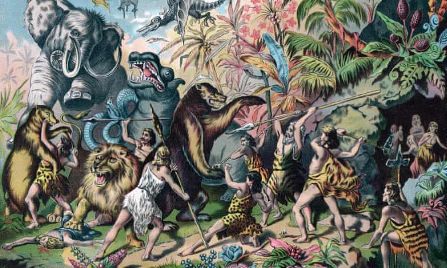 Chromolithograph illustration of a tribe of prehistoric 'cavemen' battling ferocious animals, 1906.