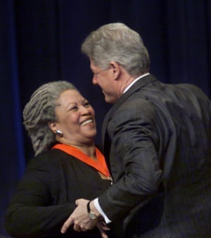 President Bill Clinton embraces Morrison after awarding her a National Humanities medal in 2000