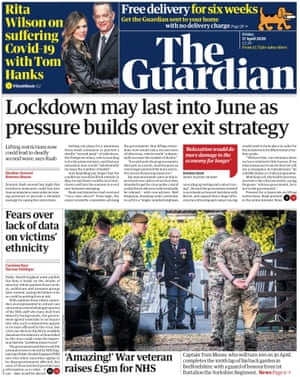 Guardian front page, Friday 17 April 2020