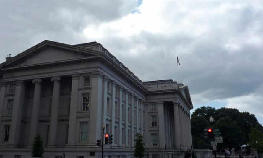 The US Treasury building in Washington. The treasury department was one of many compromised by the hack.