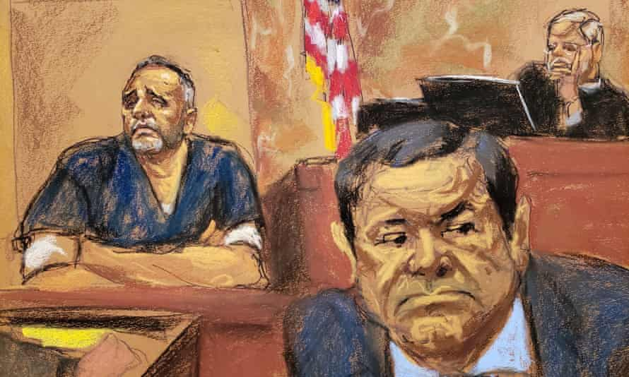 Joaquin Guzmán listens to trial testimony in Brooklyn federal court in New York.