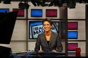 Rachel Maddow on set in 2008, in her first week on air