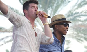 Robin Thicke and Pharrell Williams performing at Miami Beach, Florida, in 2013