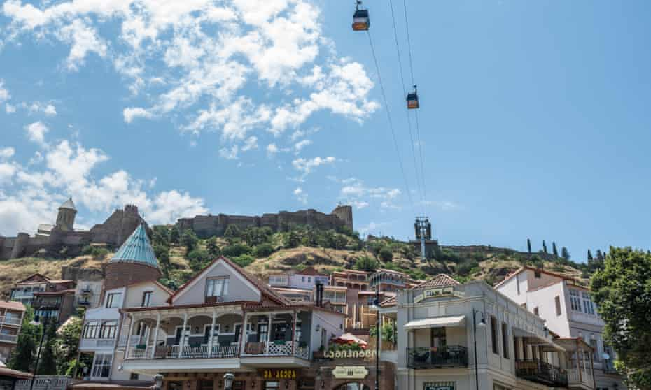 View of Tbilisi's old town with Narikala Fortress, St Nicholas church and cable cars visible