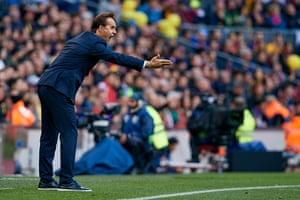 Julen Lopetegui watches in horror as his team were thrashed by Barcelona in what proved to be his final match in charge of Real Madrid.