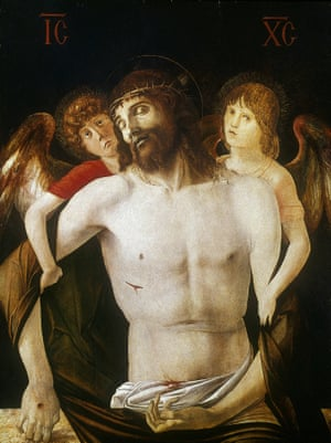 The Dead Christ Supported by Angels, 1465-1470, by Giovanni Bellini. From the National Gallery, London. (Photo by Art Media/Print Collector/Getty Images)